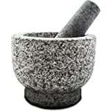 Mortar and Pestle Made of 100% Granite for the Kitchen Make and Serve Dishes Right At The Table Beautifully. Bonus Include: Avocado Slicer.(Pitted granite)