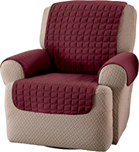Innovative Textile Solutions, Microfiber Furniture Protector Recliner Wing Chair, Perfect Chair Protection, Comfortable Easy Stretch Fabric, Protect Against Spills and Stains (Burgundy)
