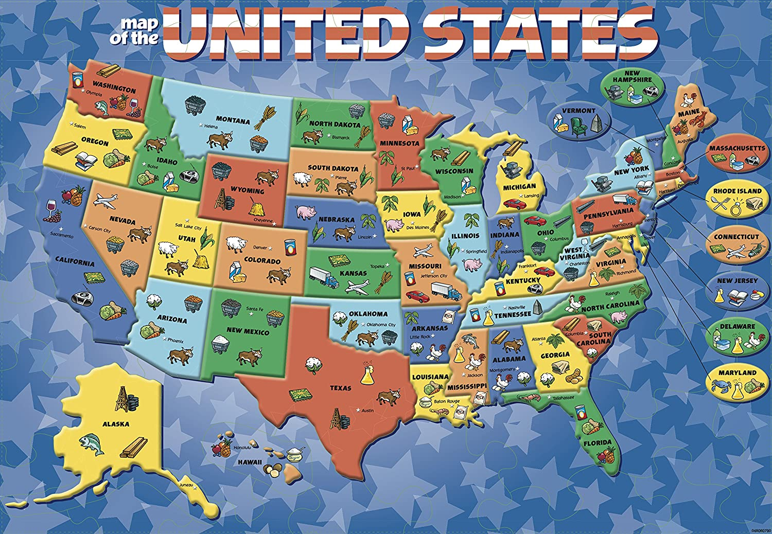 Amazon.com: Cardinal Industries USA Map Puzzle: Toys & Games