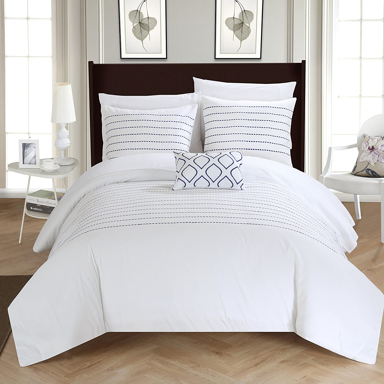 Chic Home 4 Piece Bea Embroidered Duvet Cover Set Shams and Decorative Pillow, Queen, White