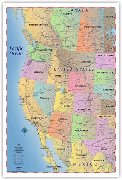Amazoncom Progeo Maps Truckers Wall Map Of West Coast Canada - Pacific-ocean-us-map