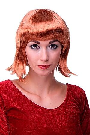 WIG ME UP ® - Peluca corta de pelo bob color rojo cobrizo fiesta disco GO