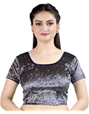 Chandrakala Women's Stretchable Readymade Indian Ethnic Saree Blouse Crop Top Choli (B130)