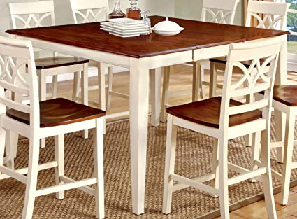 Furniture Of America Cherrine Country Style Pub Dining Table, Oak/Vintage  White