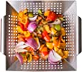 """Nonstick Stainless Steel Vegetable Grill Basket & Wok Topper with Carry Handles & Bonus Ebook for No Mess Stir Fry & Grilling Fish, Seafood, Veggies & Fruit by Luxury Grill Products, 12 x 12 x 2.2"""""""