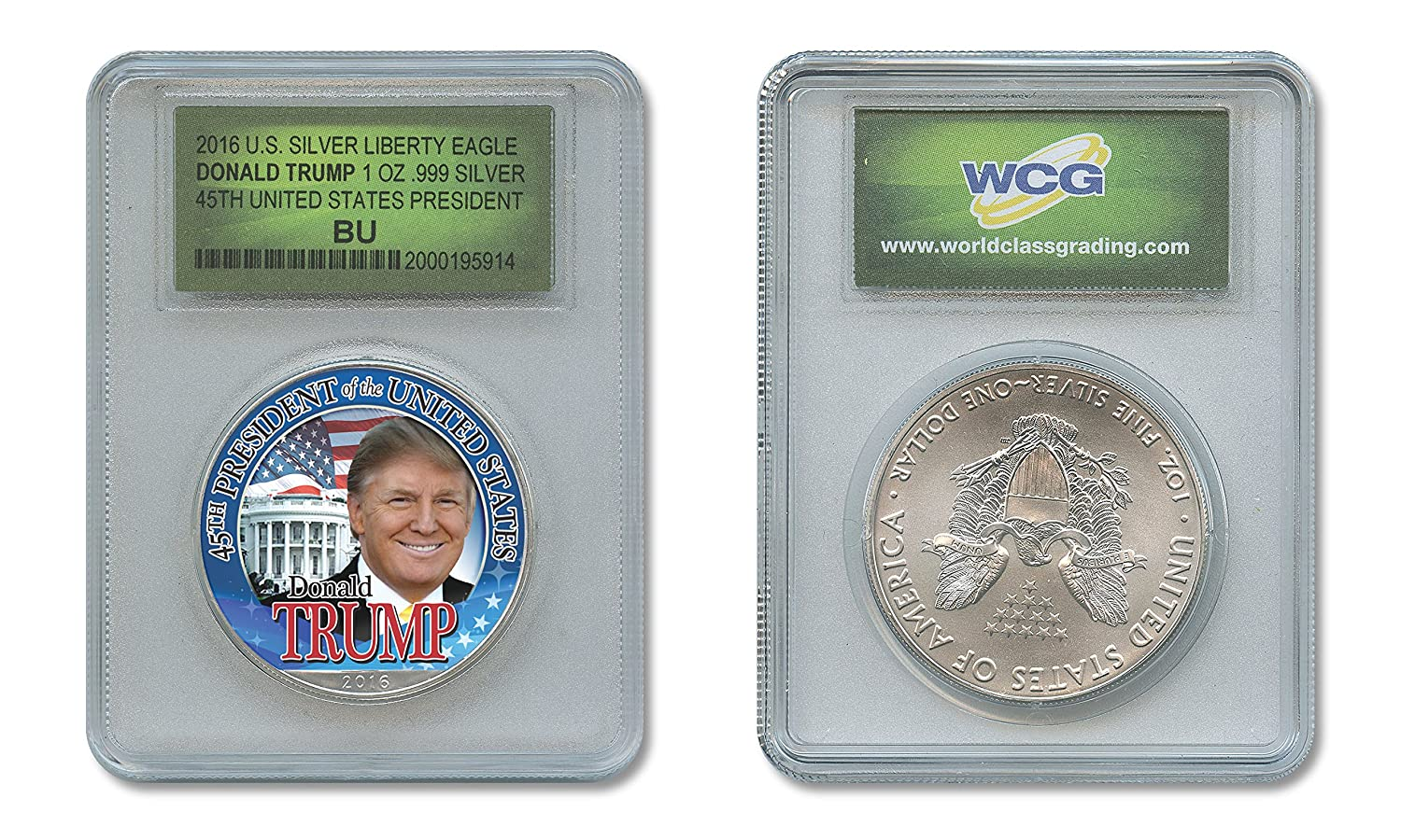 DONALD TRUMP 45th PRESIDENT 2016 1 oz American .999 Pure Silver Eagle SPECIAL HOLDER The Merrick Mint