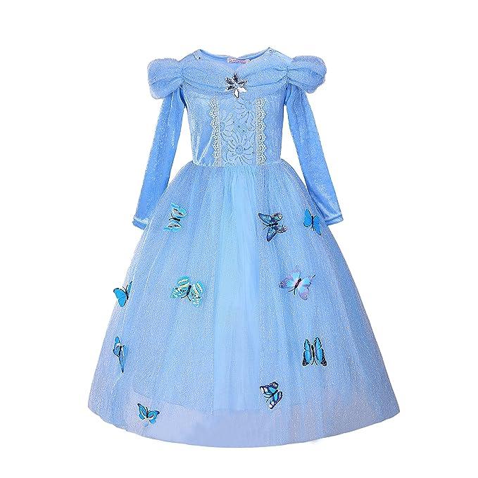 Pettigirl Niña Princesa Mariposas Lujoso Vestir Manga larga Fiesta Disfraz , 4 años