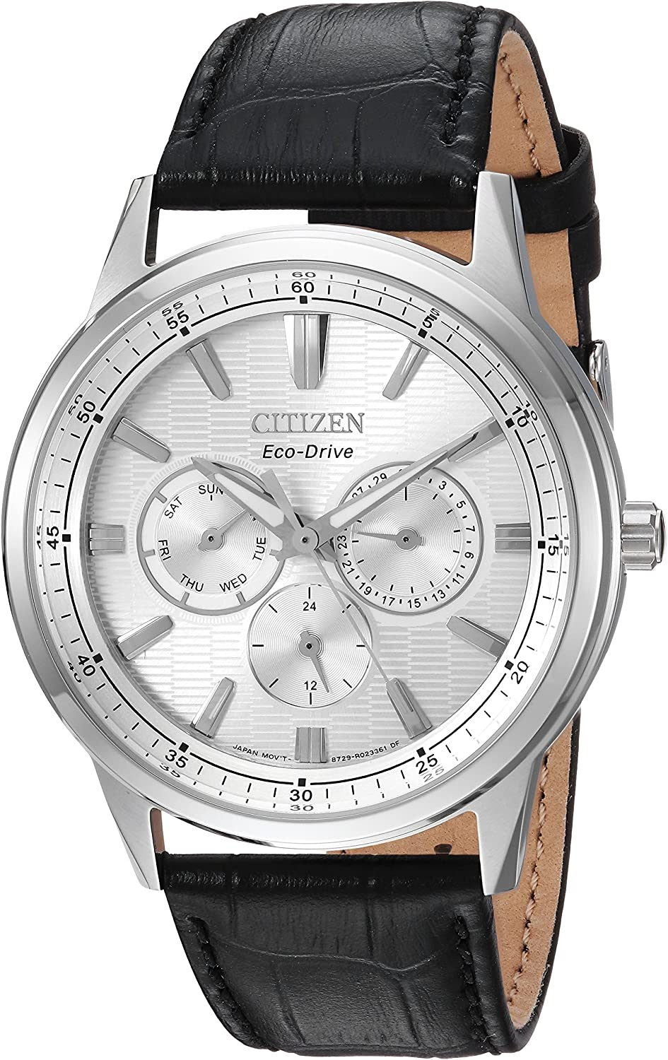 Citizen Men s Eco-Drive Quartz Stainless Steel and Leather Casual Watch, Color Black Model BU2070-04A
