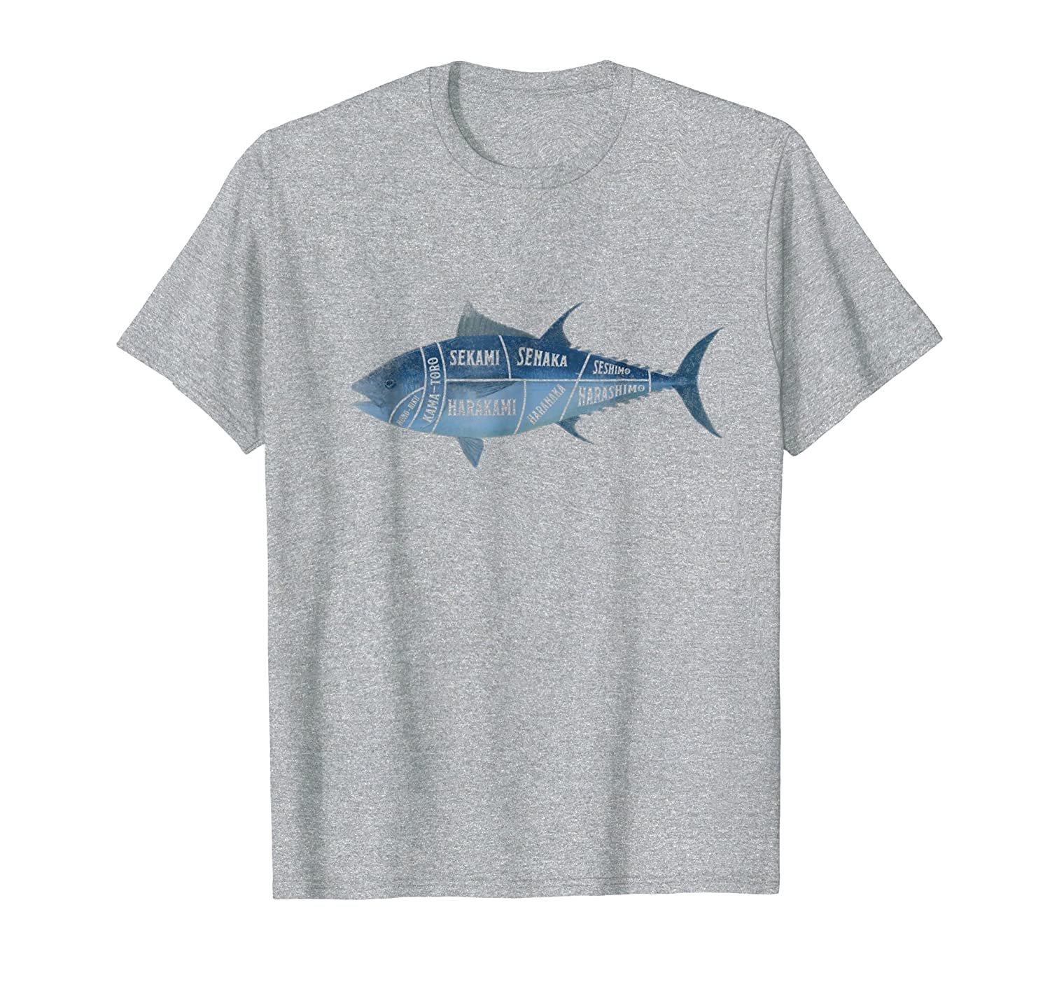 Amazon.com: Tuna Fish Cut Anatomy Sushi Sashimi T Shirt Japanese ...