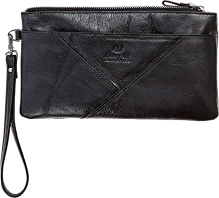 Divvy Up Genuine Leather Wristlet, Super Soft Zipper Clutch Carry All for Women
