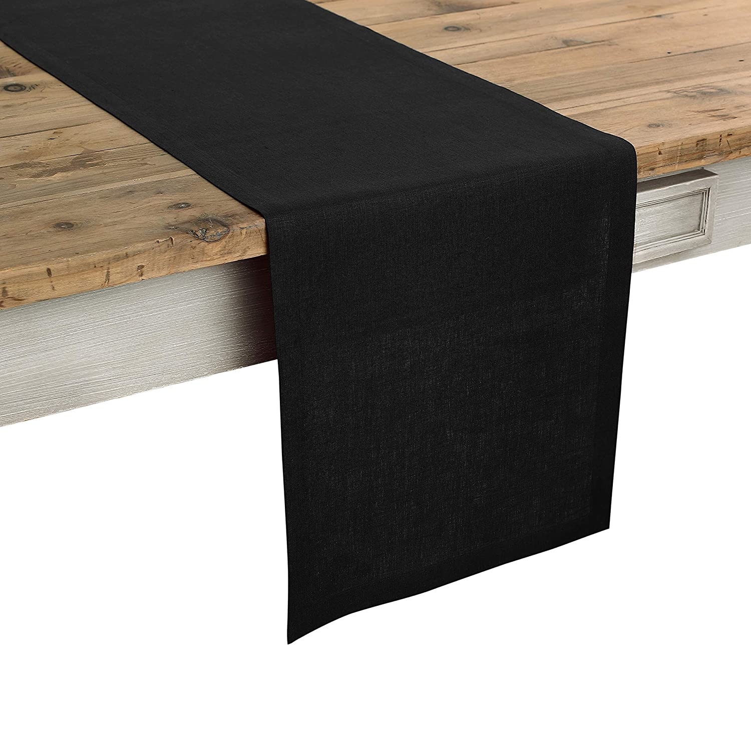 Solino Home 100% Pure Linen Table Runner – 14 x 60 Inch Athena, Handcrafted from European Flax, Natural Fabric Runner – Black