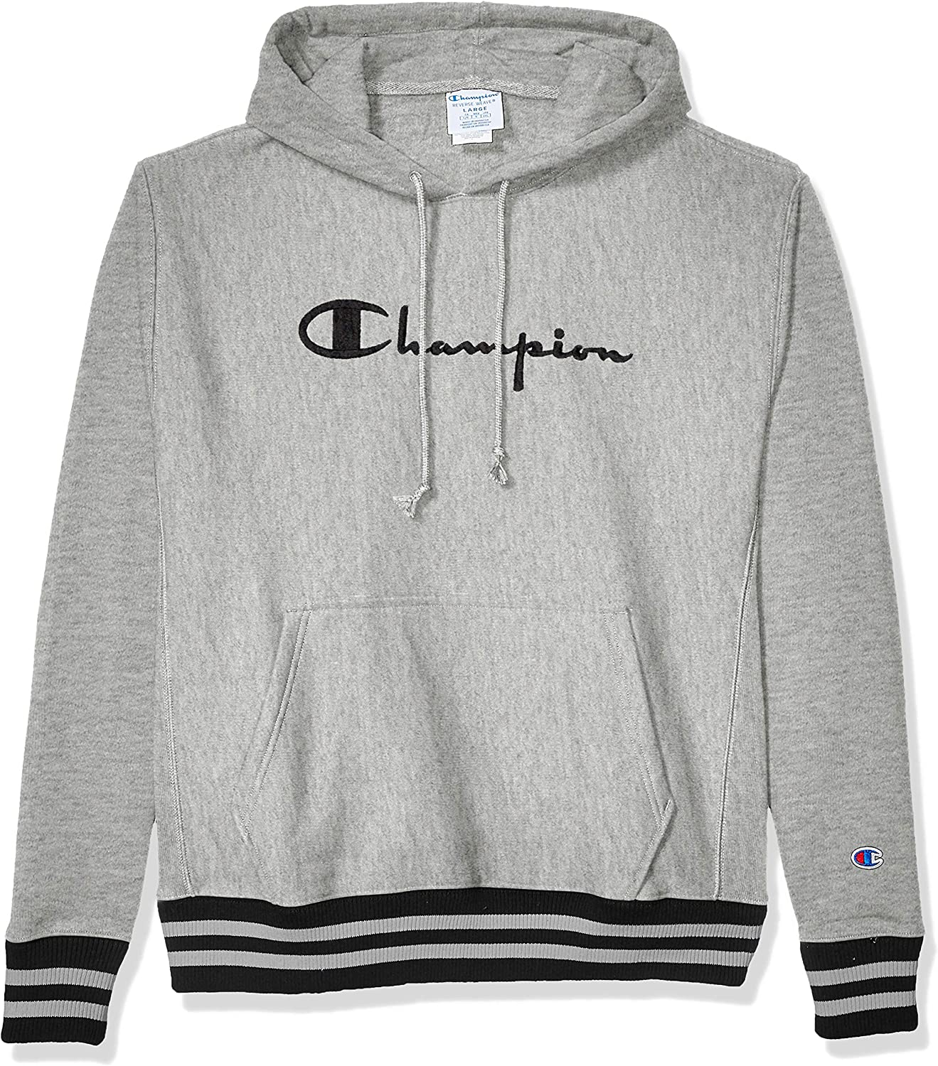 Champion LIFE Men's Reverse Weave Po Hood Yarn Dye Rib Trim-Full Chest Script