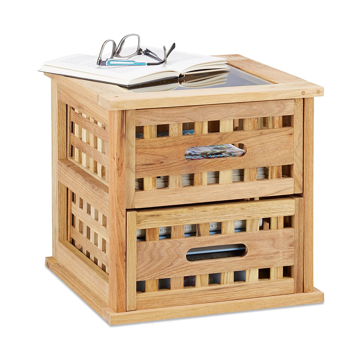 Relaxdays Walnut Side Table, Square Nightstand Natural Wood with 2 Drawers, HWD: 34 x 34 x 34 cm, Natural 10020649