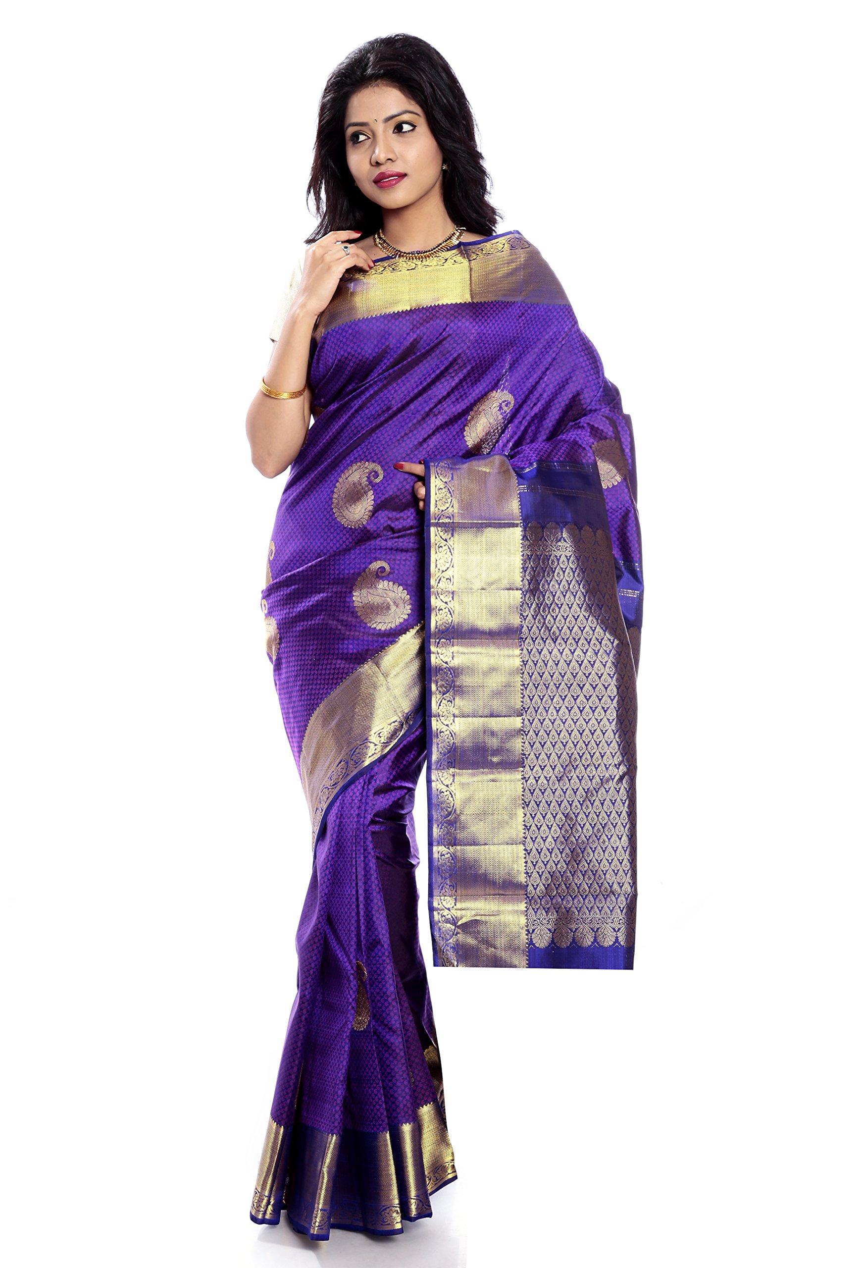 Mandakini — Indian Women's Kanchipuram - Handloom - Pure Silk Saree (Magenta ) (MK241)