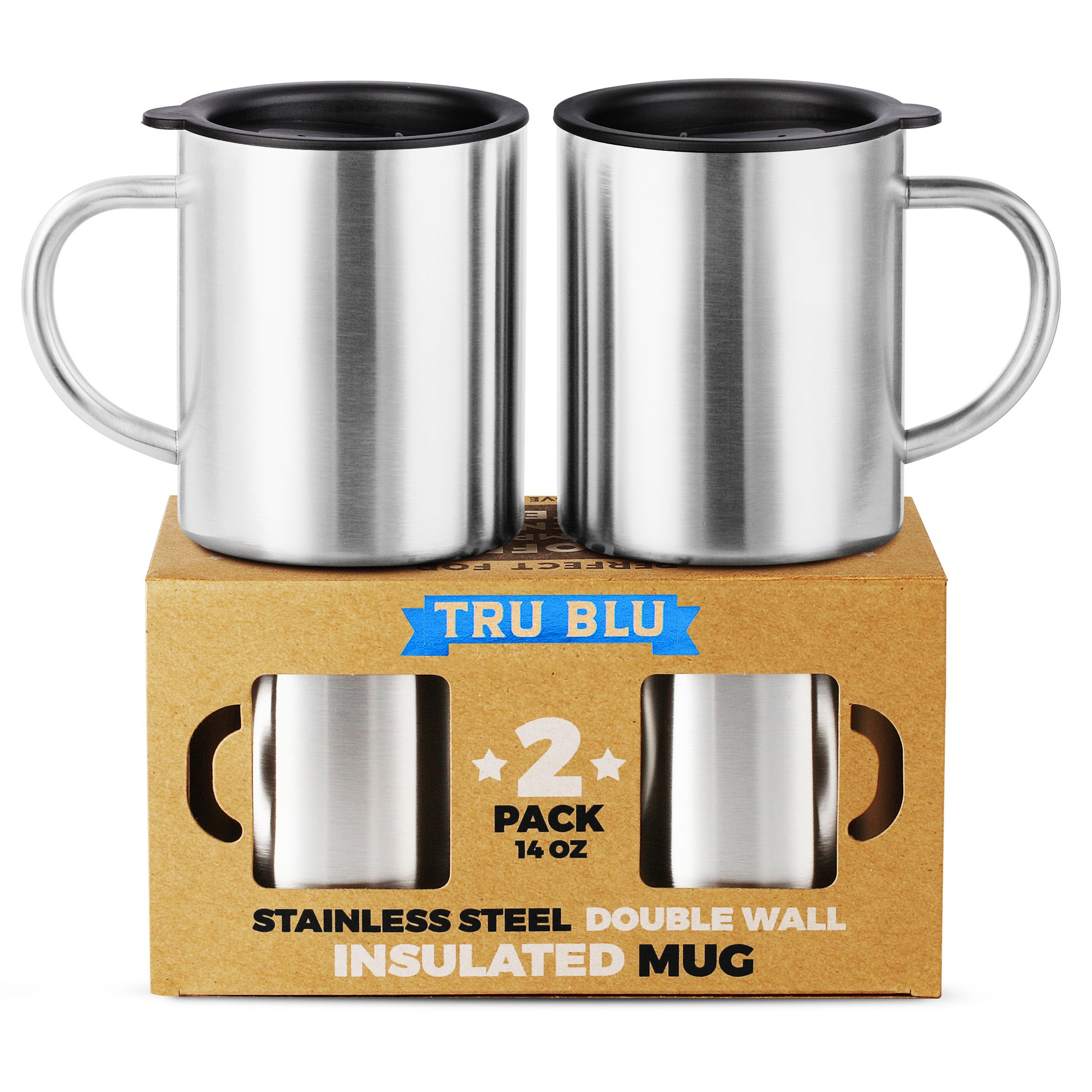 Stainless Steel Coffee Mug with Lid, Set of 2 – 14 oz Premium Double Wall Insulated Travel Cup, Metal Mug with Handle – Shatterproof, BPA Free, Dishwasher Safe, Tea, Beer (14oz)