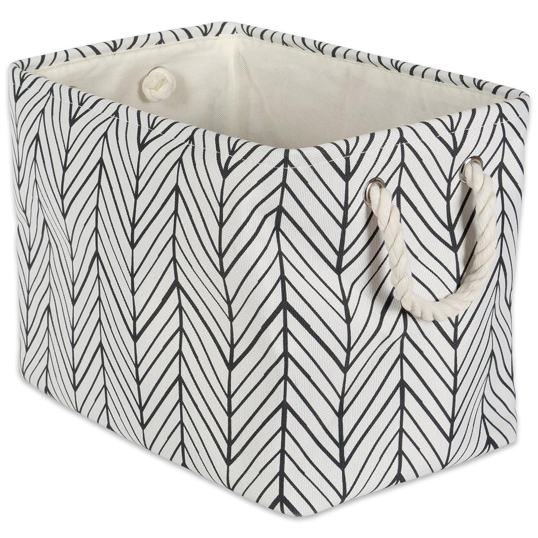 DII Collapsible Herringbone Polyester Storage Basket, Small Round, Black CAMZ38618