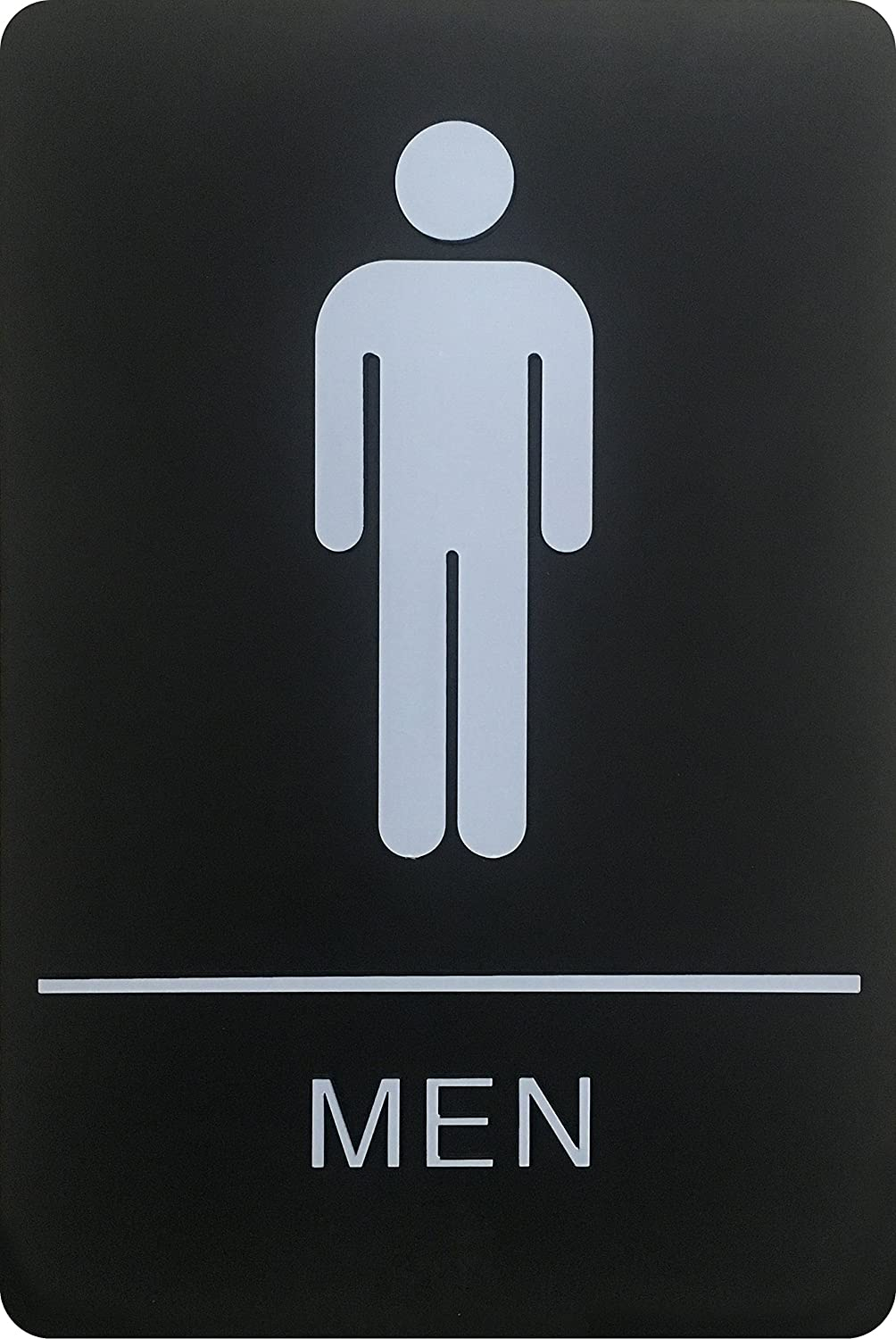Corko Signs Men's Braille Restroom Sign - Official Bathroom Sign with Double Sided 3M Tape on Back