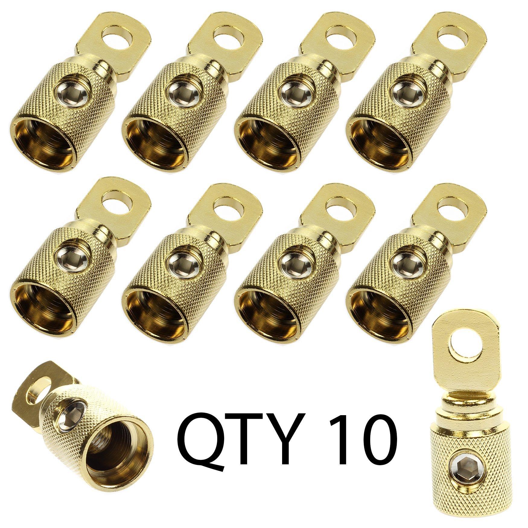 1/0 2 0 Ga GAUGE AWG 5/16'' Gold set screw Power Ring Terminal (10 - Pack)