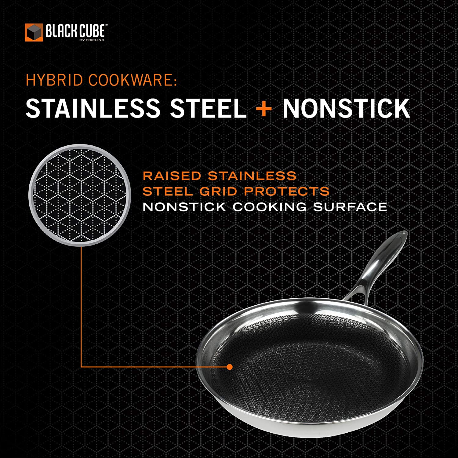 Amazon Com Black Cube Hybrid Stainless Steel Frying Pan With Nonstick Coating Oven Safe Cookware 9 5 Inches Kitchen Dining
