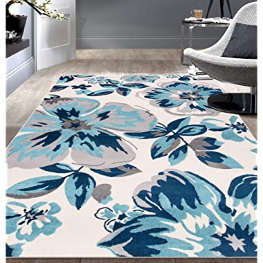 Rugshop Modern Floral Area Rug 5' x 7' Turquoise