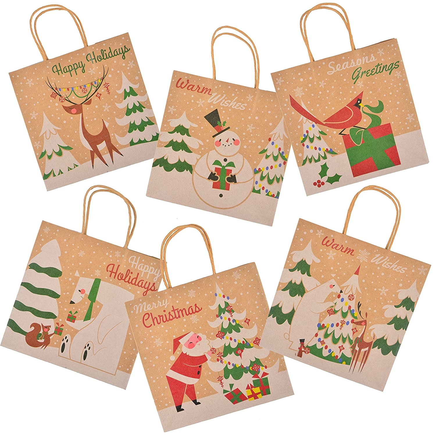 Amazoncom 24 Christmas Kraft Gift Bags With Assorted Christmas Prints