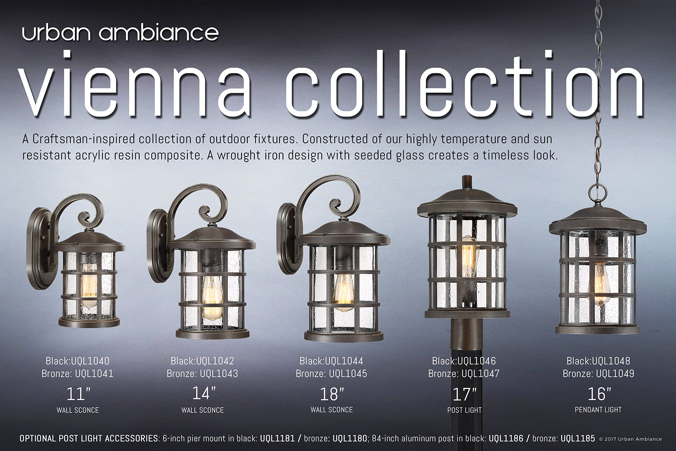 Luxury Craftsman Outdoor Wall Light, Small Size: 11'' H x 6'' W, with Tudor Style Elements, Wrought Iron Design, Oil Rubbed Parisian Bronze Finish and Seeded Glass, UQL1041 by Urban Ambiance by Urban Ambiance (Image #6)