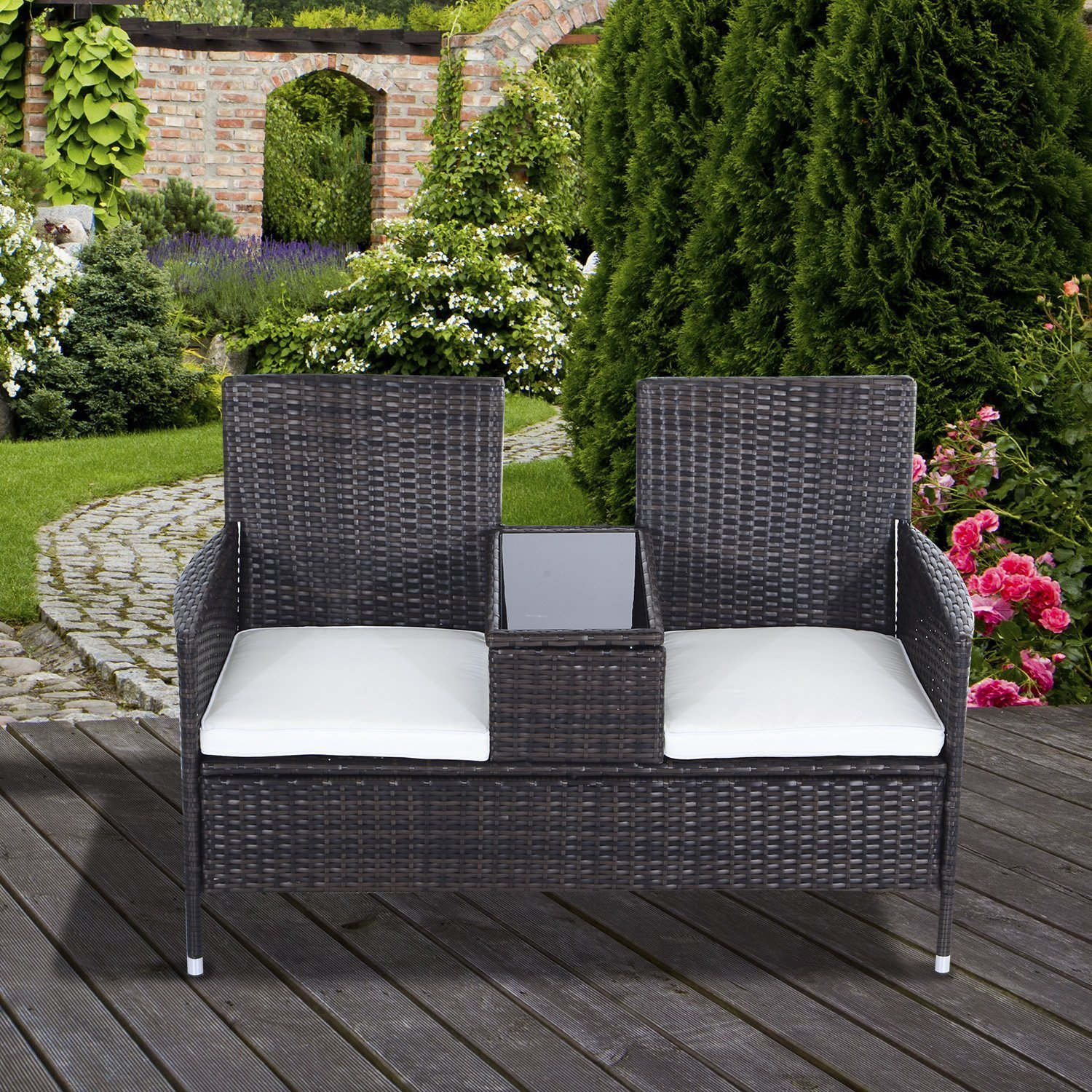 Outsunny 2 Seater Rattan Chair Garden Furniture Patio Love