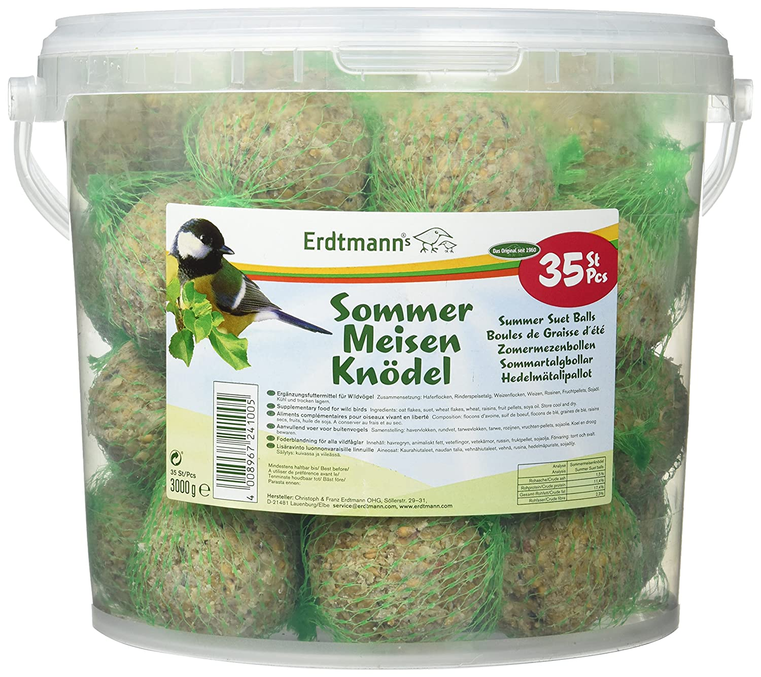 Erdtmanns 35 Summer Suet Balls in a Tub, 3 Kg 224100