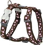 Red Dingo Desinger arnés del perro, color rosa puntos en marrón (mm) X cuello: 36–59cm/Cuerpo 45–66cm) M