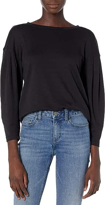 Daily Ritual Amazon Brand Women's Pima Cotton and Modal Interlock Balloon-Sleeve Top