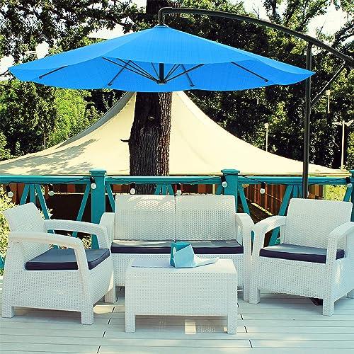 Pure Garden 50-LG1039 Patio Umbrella, Cantilever Hanging Outdoor Shade, 10 ft, Brilliant Blue