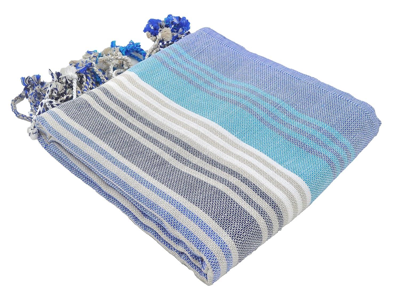 InfuseZen Striped Colorful Turkish Towels in Orange, Purple, Aqua, Mint & Lime, Peshtemal Towels for Bath, Beach, Pool Spa, Yoga, Gym, 100% Cotton Thin & Absorbent Towel, Large Hammam Towels (Navy)