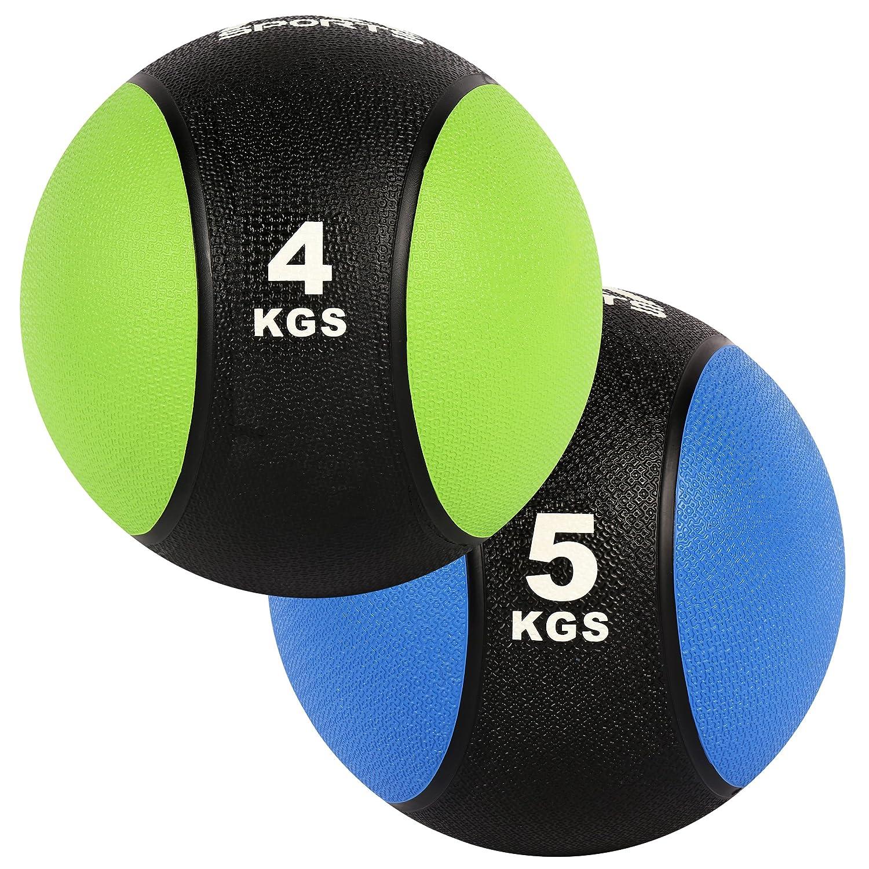 MSPORTS Medizinball Set 4 + 5 kg – Professionelle Studio-Qualität Gymnastikbälle Fitness Set
