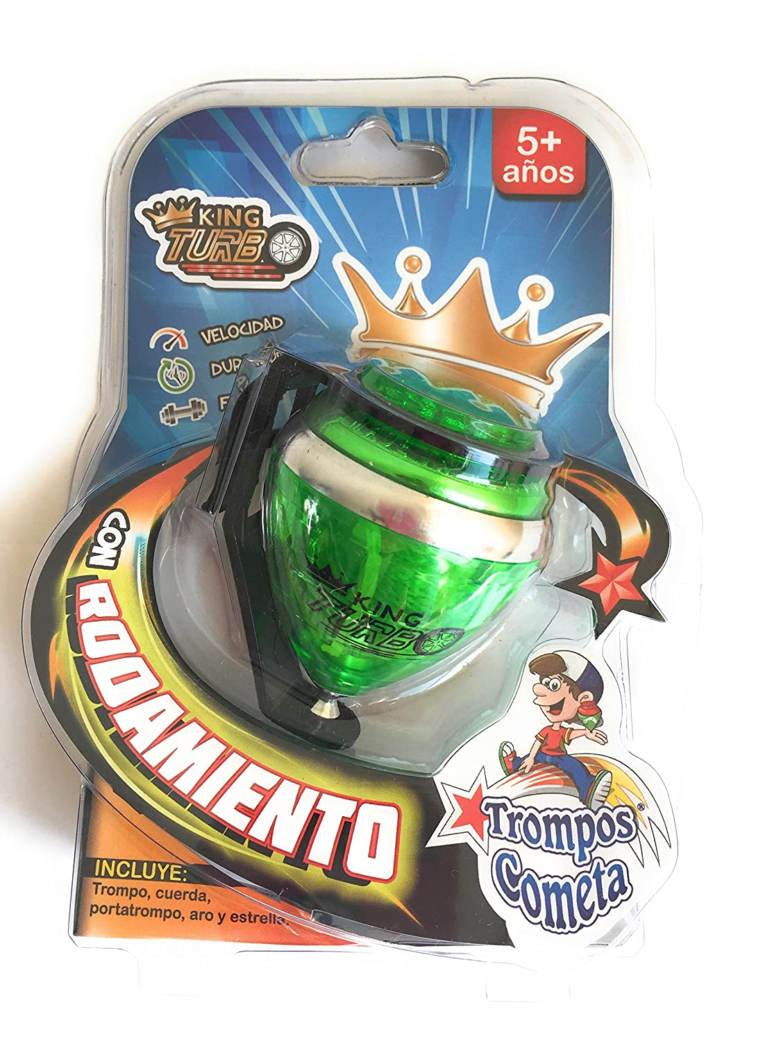 Grahmart King Turbo Durable Plastic Spin Tops Metal Tip Made in Mexico Trompo Mexicano King Turbo Plástico Durable Punta de Metal