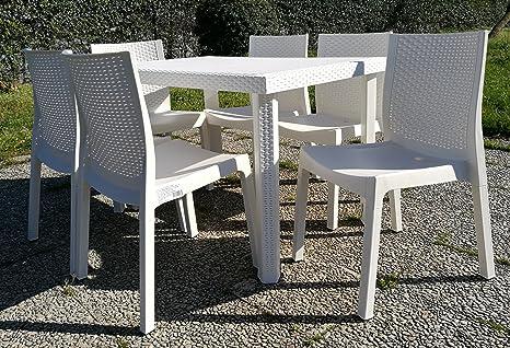 Set da giardino esterno panarea tavolo e sedie bianco amazon