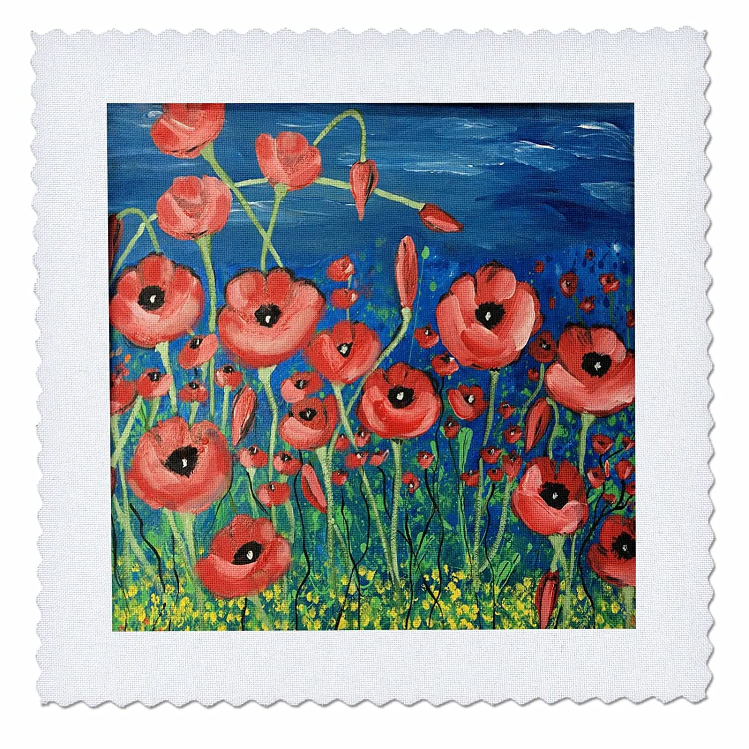3drose dinzas art nature image of red poppy flowers on blue 3drose dinzas art nature image of red poppy flowers on blue background 22x22 inch mightylinksfo
