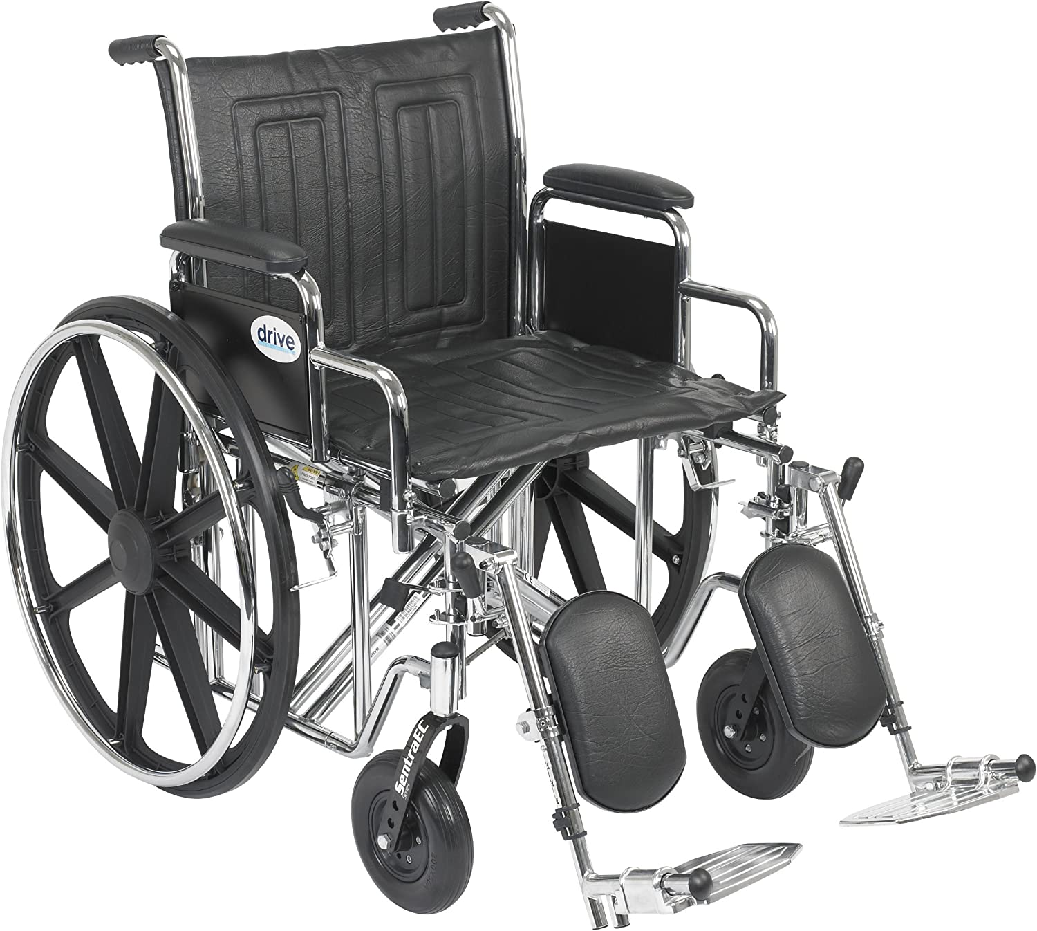 Drive Medical Sentra EC Heavy Duty Wheelchair with Various Arm Styles and Front Rigging Options, Black, Bariatric, 20 Inch 91kut4N7RCL