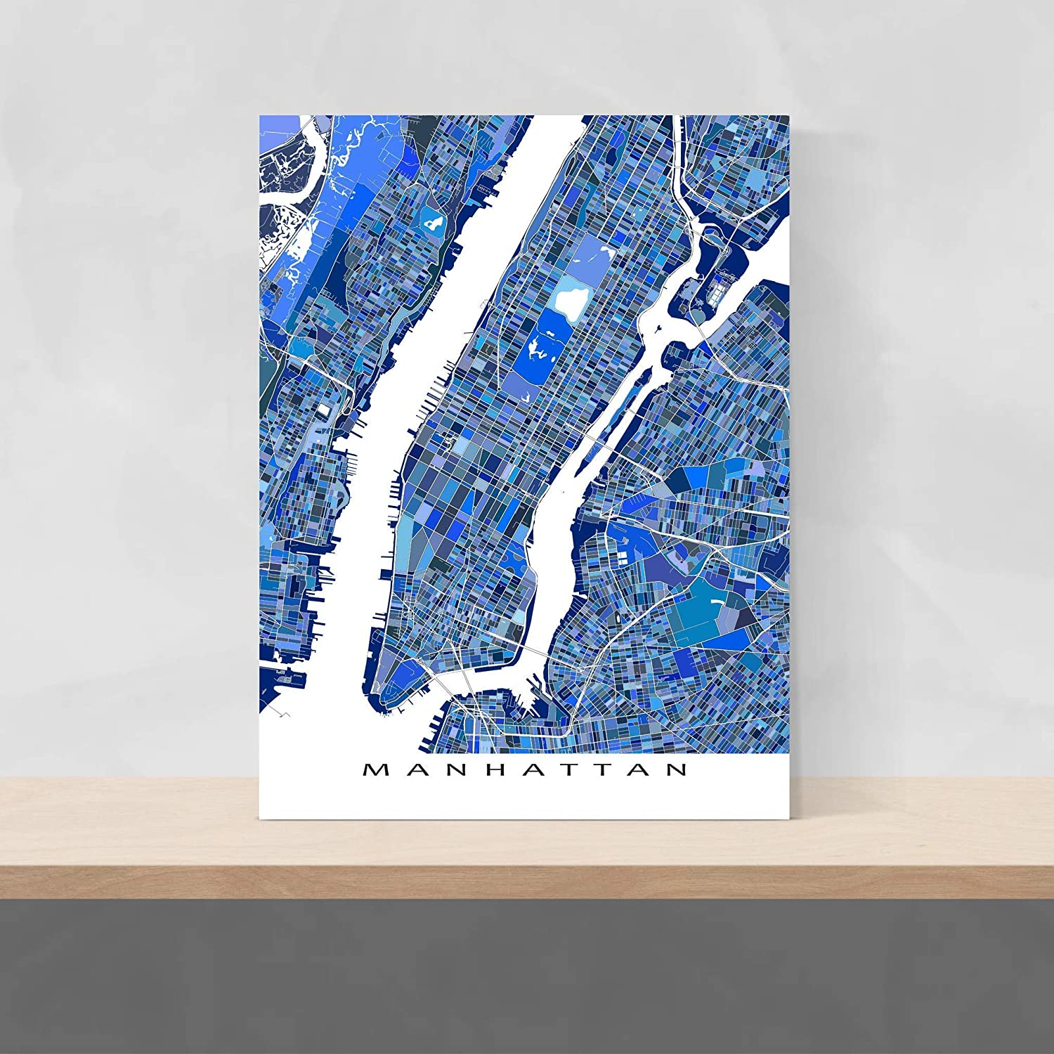Amazon Com Manhattan Map Print 8x10 New York Manhattan Map Poster 24x36 Handmade Blue Geometric Manhattan Map Art Prints Nyc By Maps As Art Handmade
