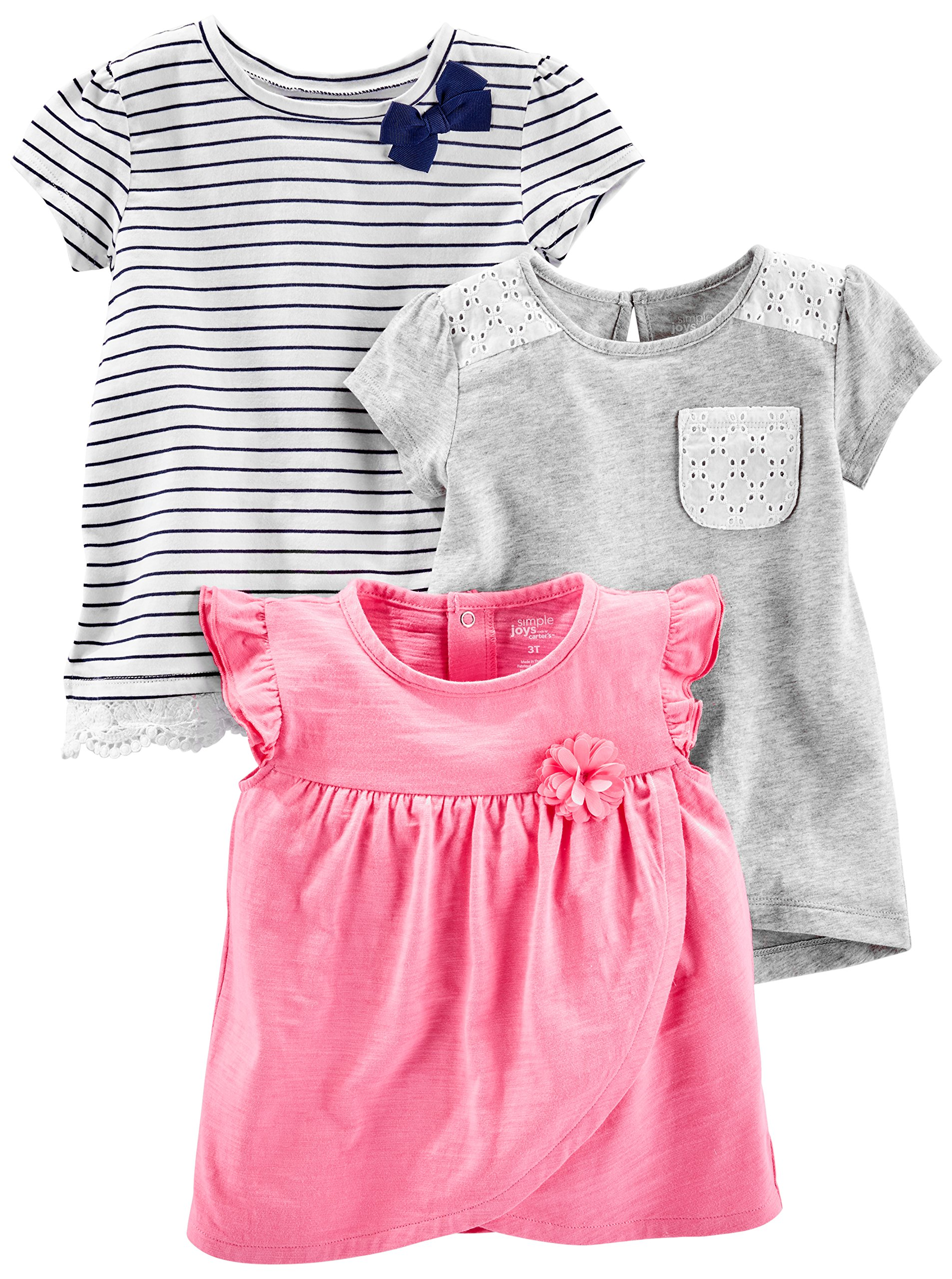 Simple Joys by Carter's Baby Girls' Toddler 3-Pack Short Sleeve Tops, Gray, Pink, Stripe, 2T by Simple Joys by Carter's