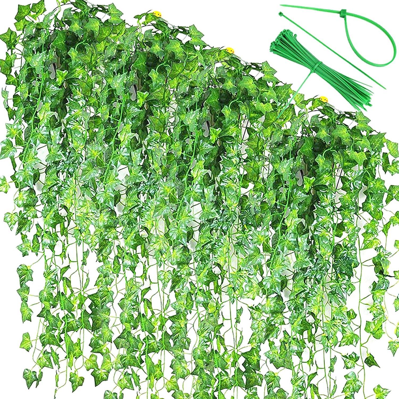 AlphaMeow 86 Ft 12 Strands Artificial Ivy Garland Fake Plants, Vine Hanging Garland, Hanging for Garden,Office, Wedding Wall Decor, Home Kitchen Indoor & Outdoor Decoration,Green