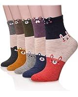 Dosoni Girl Cartoon Animal Design Lovely Novelty Cute Casual Cotton Socks 5 packs-Gift Idea