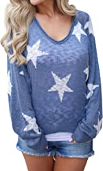 fc1a0b56445a Seraih Womens Boat V Neck Long Sleeve Star Knitted Sweater Pullover Blouse  Tops