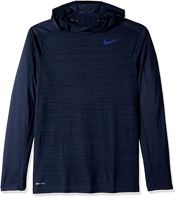 1a2759709e26 Nike Men s Dri-Fit  Touch Long Sleeve Hoodie Obsidian Black Deep Royal Blue  LG  Amazon.ca  Clothing   Accessories