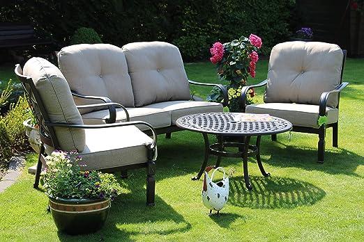 Hanseatisches Im- & Export Contor GmbH Aluminio Fundido Juego de Muebles de jardín Muebles de jardín, de edredón de 1 jardín de sofá y: Amazon.es: Jardín