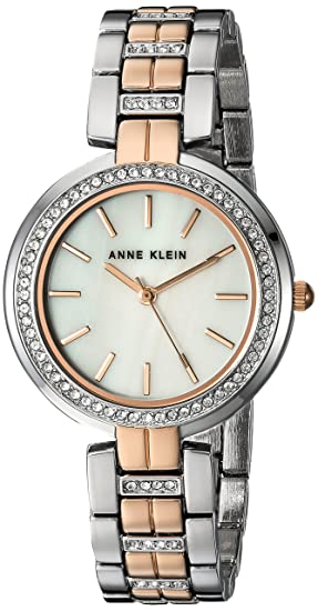 Amazon.com: Anne Klein Womens AK/2969MPRT Swarovski Crystal Accented Rose Gold-Tone and Silver-Tone Bracelet Watch: Watches