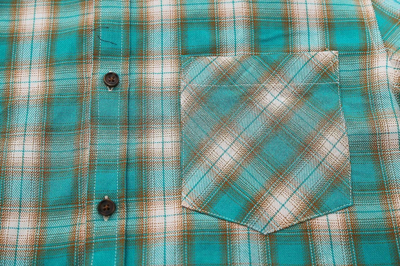 ALTOGUSTO Mens Short Sleeve Button Down Colourful Plaid Work Casual Western Shirt