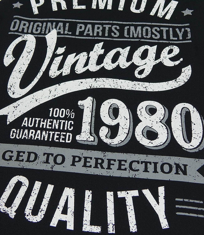 Aged To Perfection Regalo di Compleanno per 40 Anni Uomo Grembiuli Nero My Generation Gifts 1980 Vintage Year