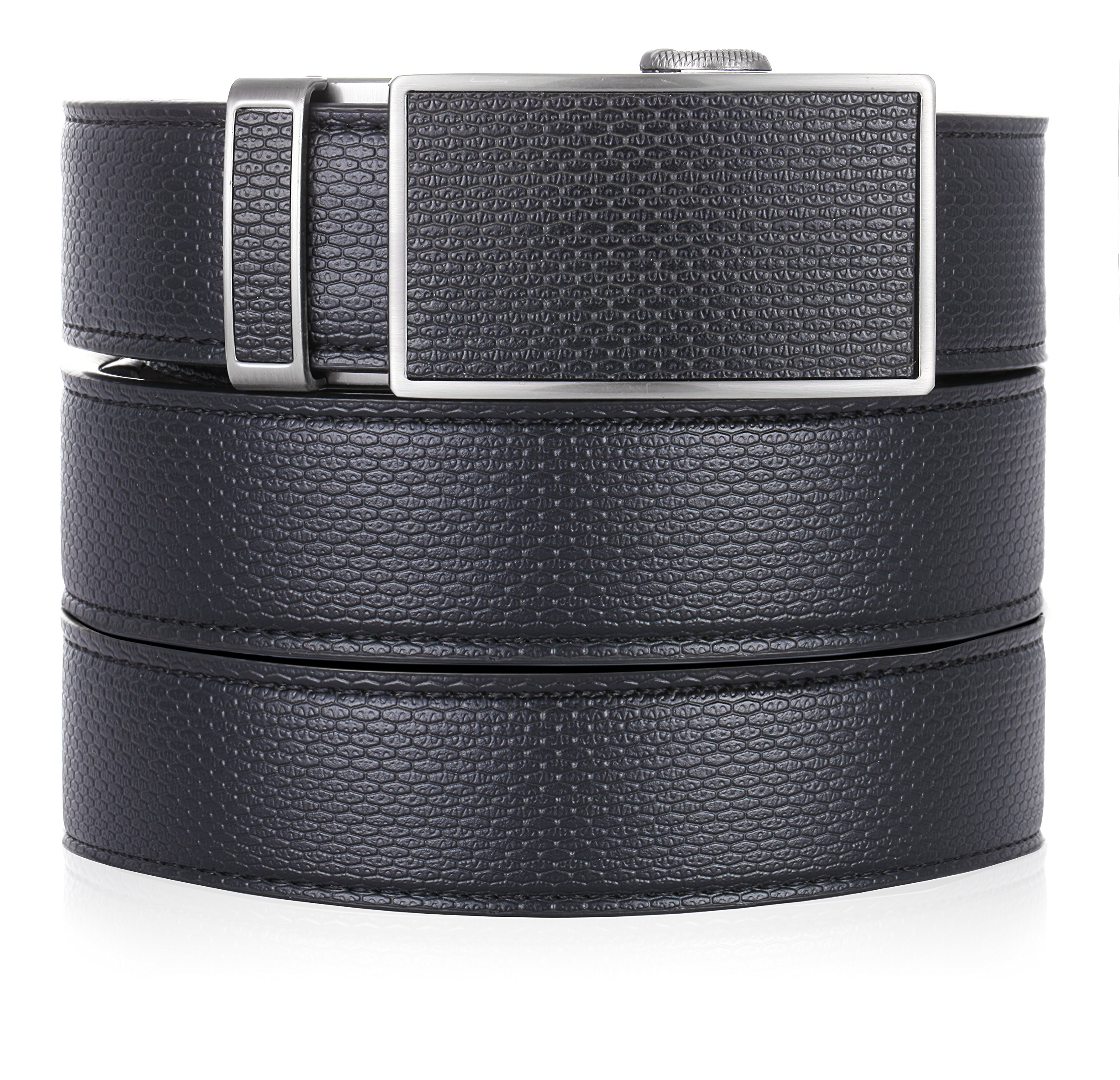 Marino Ratchet Leather Dress Belt For Men - Adjustable Click Belt with Automatic Sliding Buckle - black -Adjustable from 28'' to 44'' Waist
