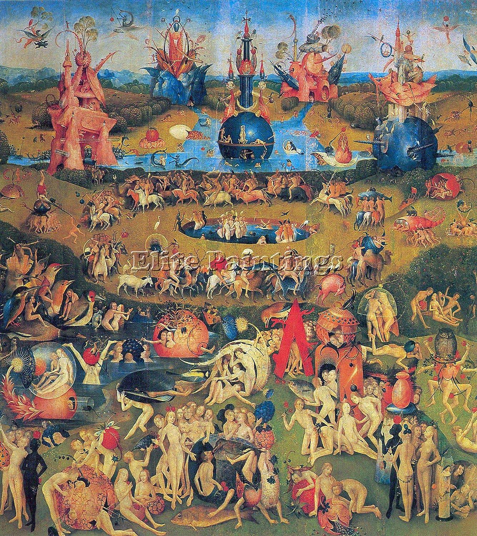 El jardín de las delicias de Bosch reproducción de artista pintura a mano aceite lienzo, alta calidad, 48x40inch: Amazon.es: Hogar