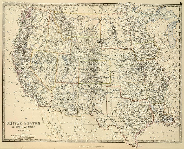 Amazon.com: Historic Map | Western United States, 1879 World Atlas ...